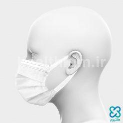 ماسک سه لایه جراحی با کش پهن سفید